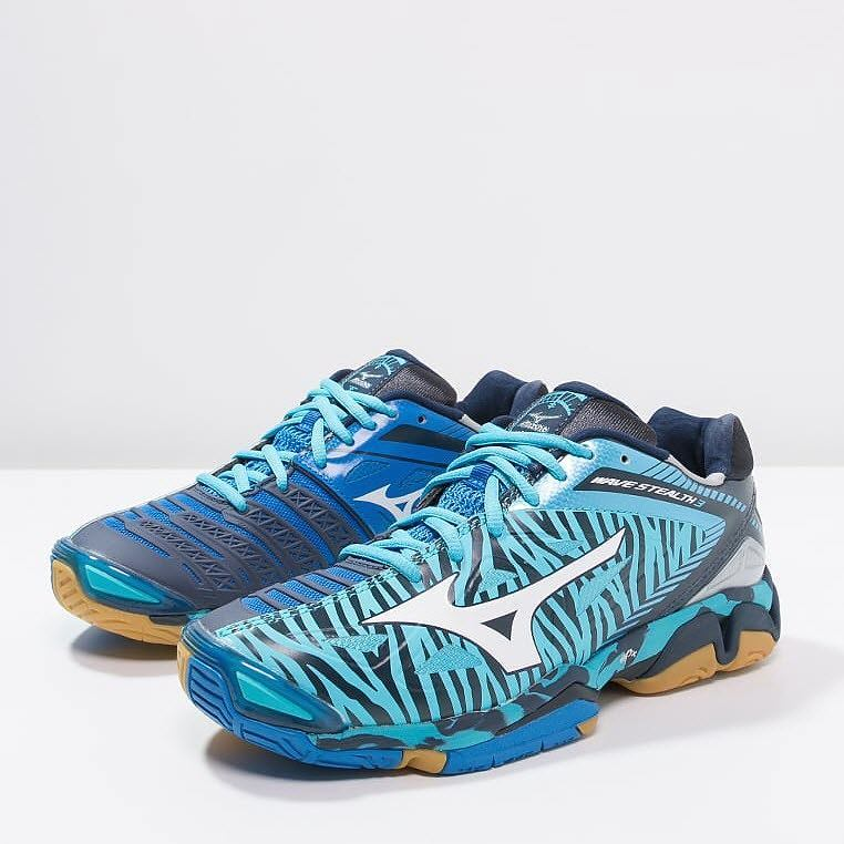 Mizuno Wave Stealth 3 Women - White Blue Tiger