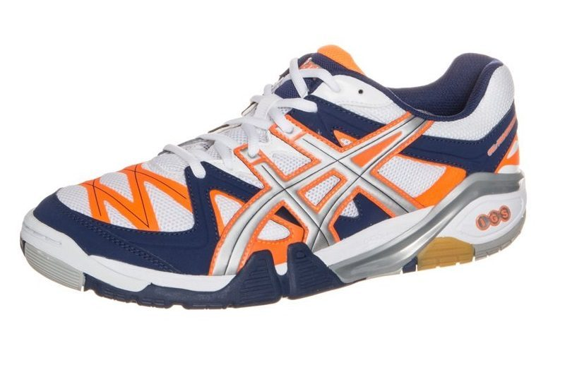 asics shoes blue squash courts in orange 666061